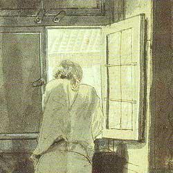 Gemäde von Goethe am Fenster seiner römischen Wohnung